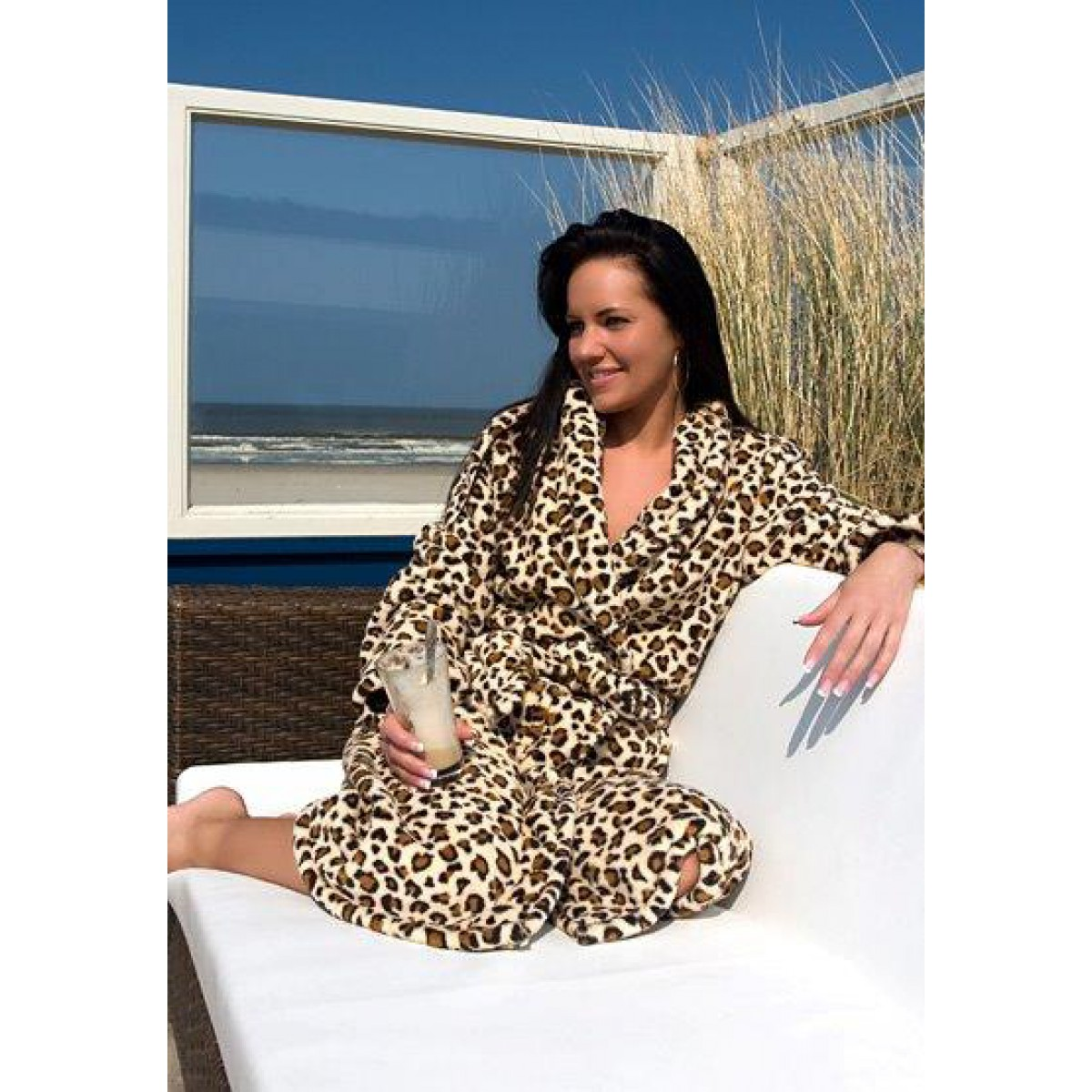 dames badjas met luipaard print