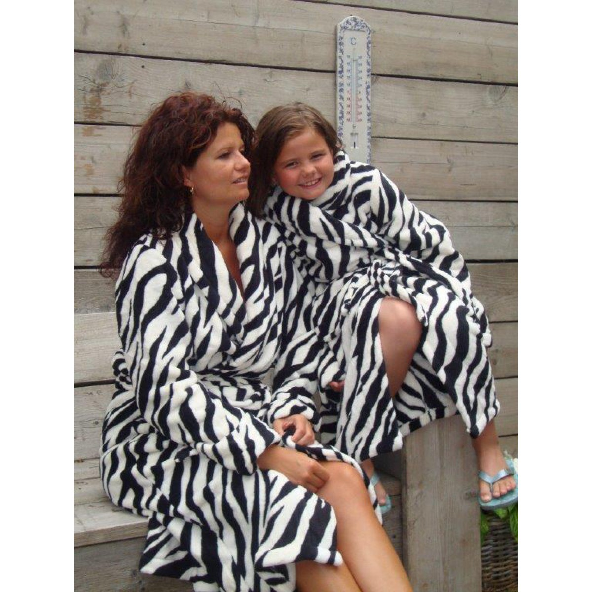 Dames badjas zebraprint