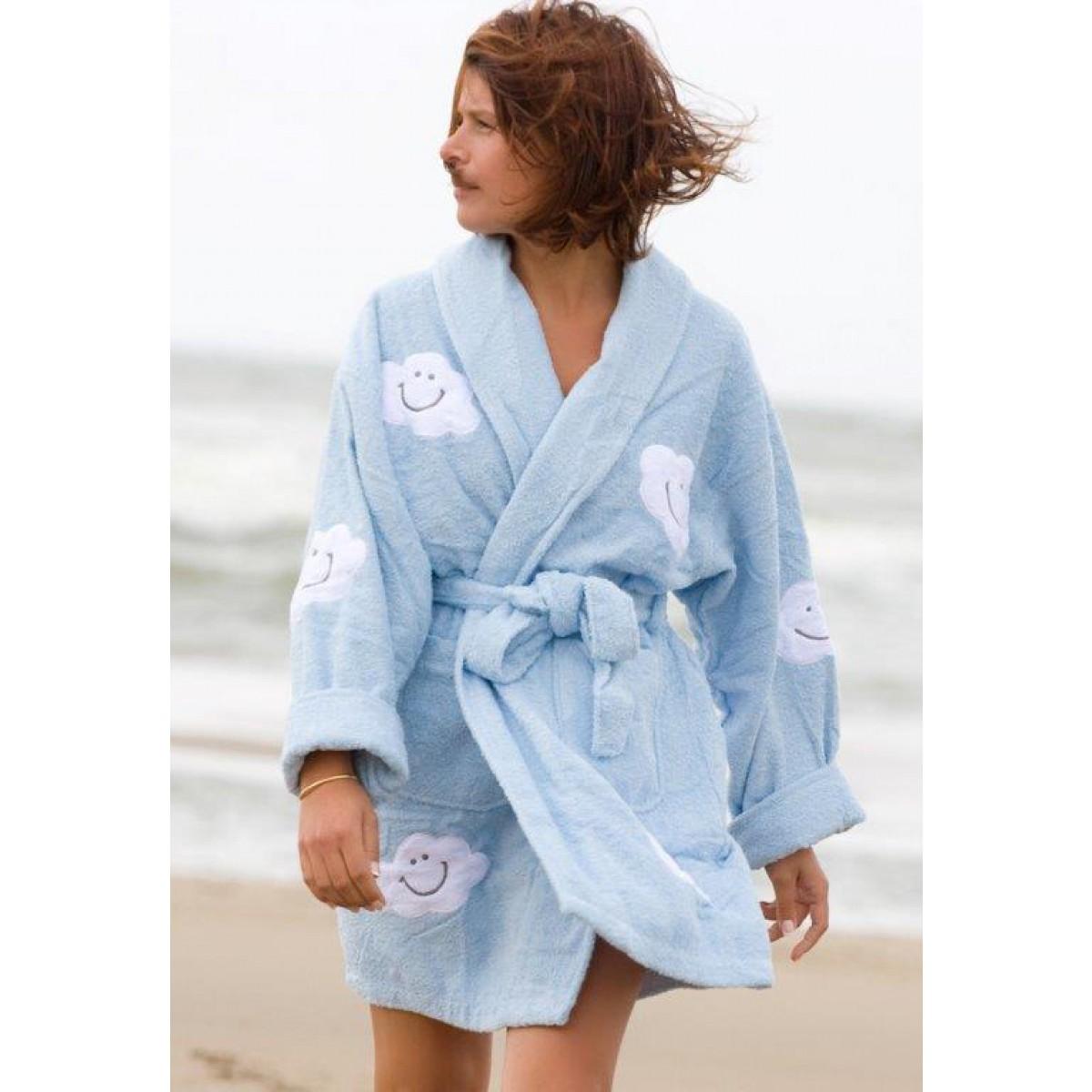 lichtblauwe dames badjas