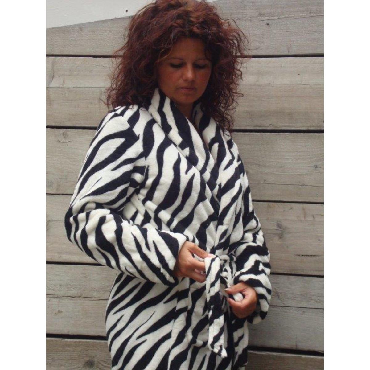 Badjas met zebraprint