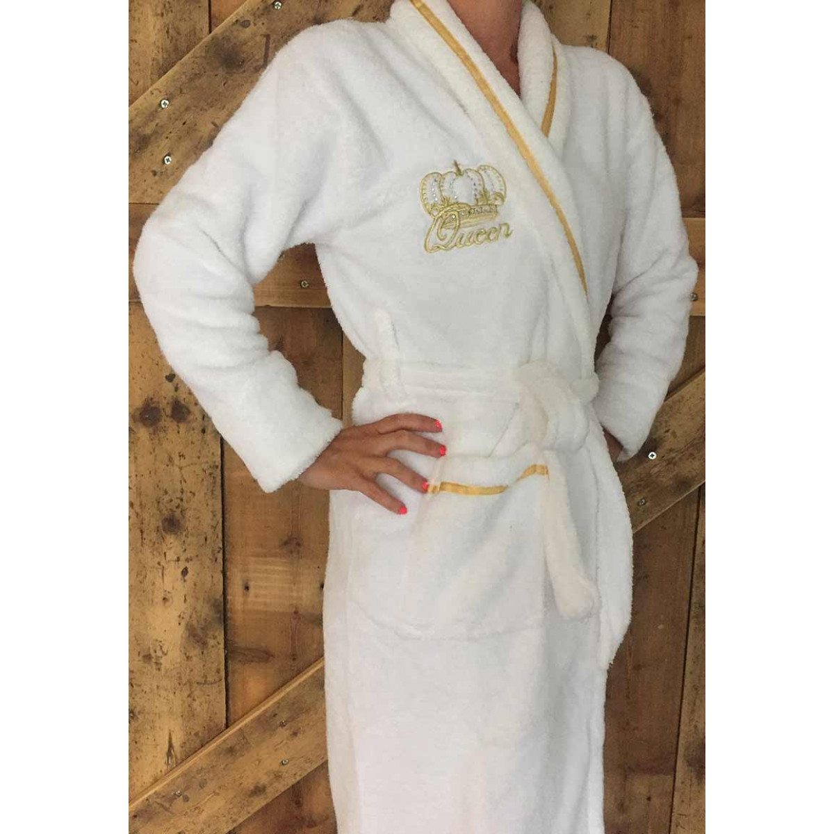 Luxe witte badjas met kroon