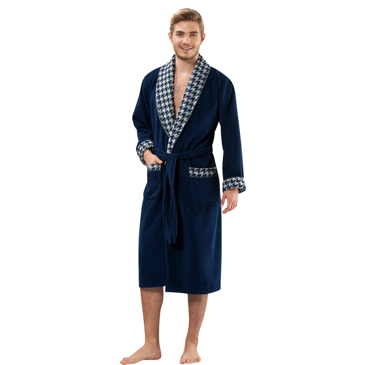 blauwe badjas voor bamboe katoen