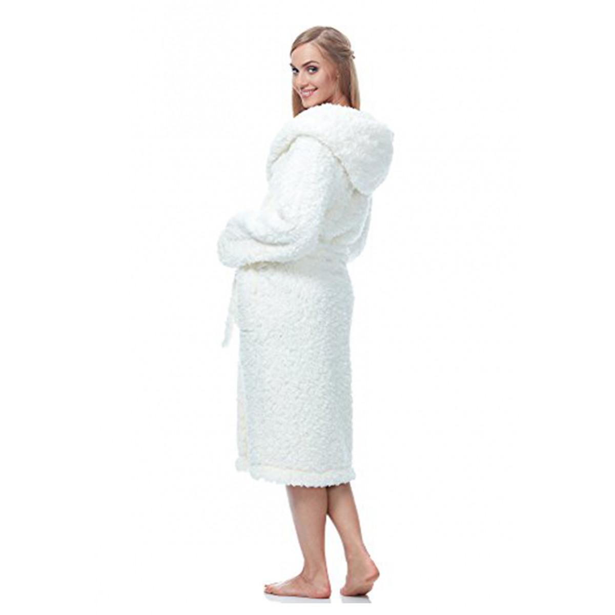 witte dames badjas met capuchon