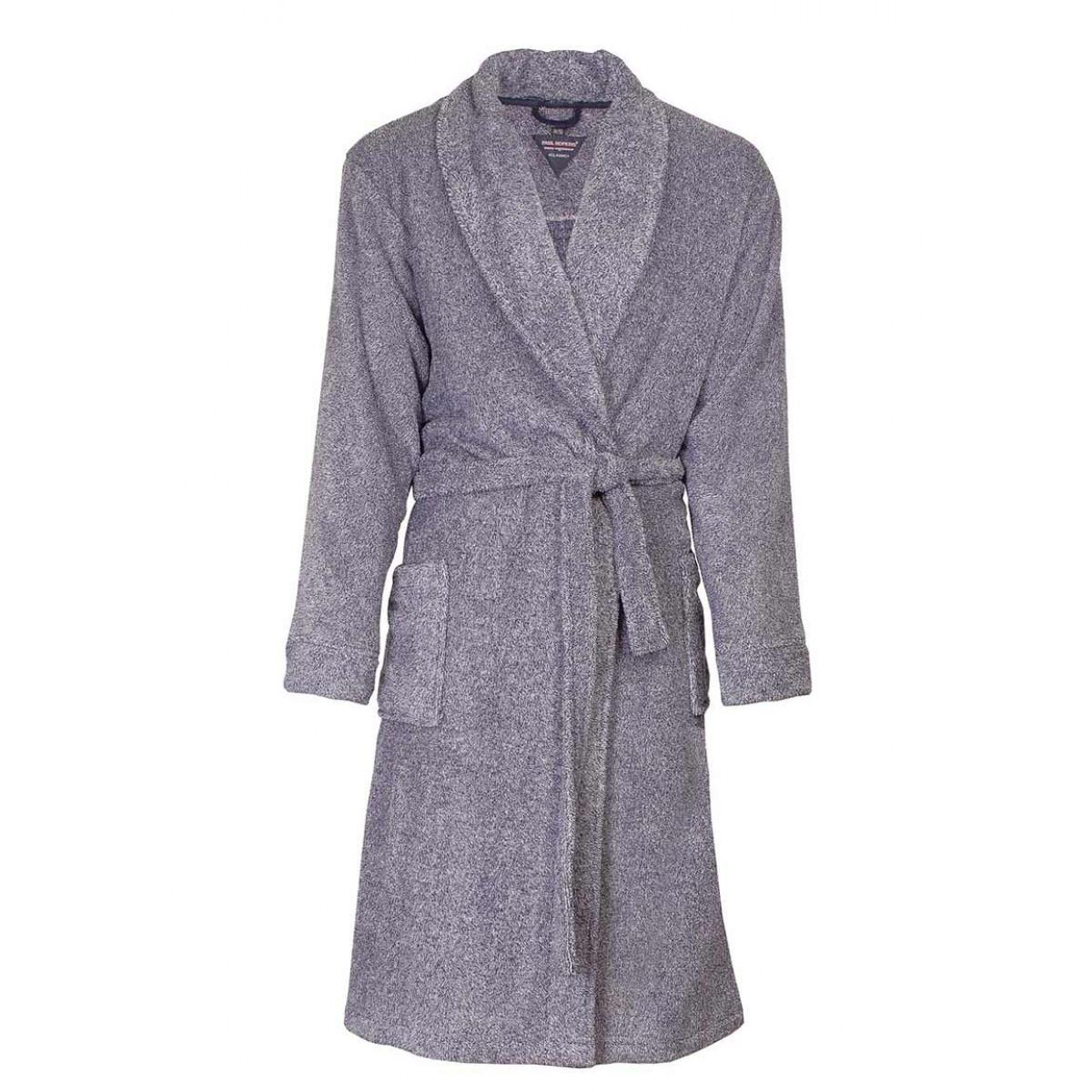 fleece herenbadjas grijs