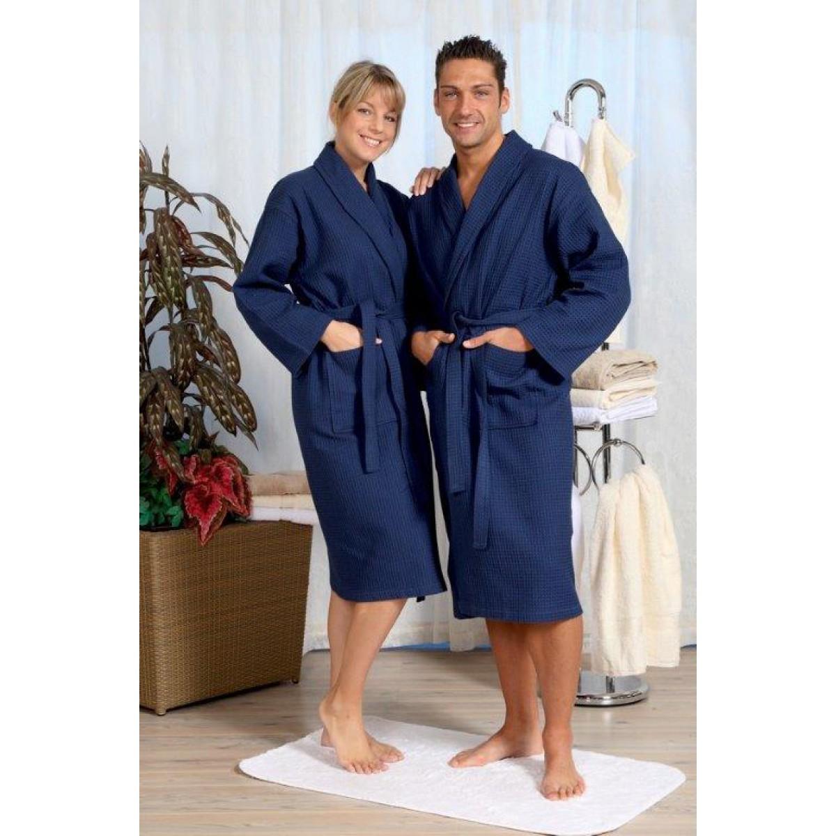 Wafel badjas blauw