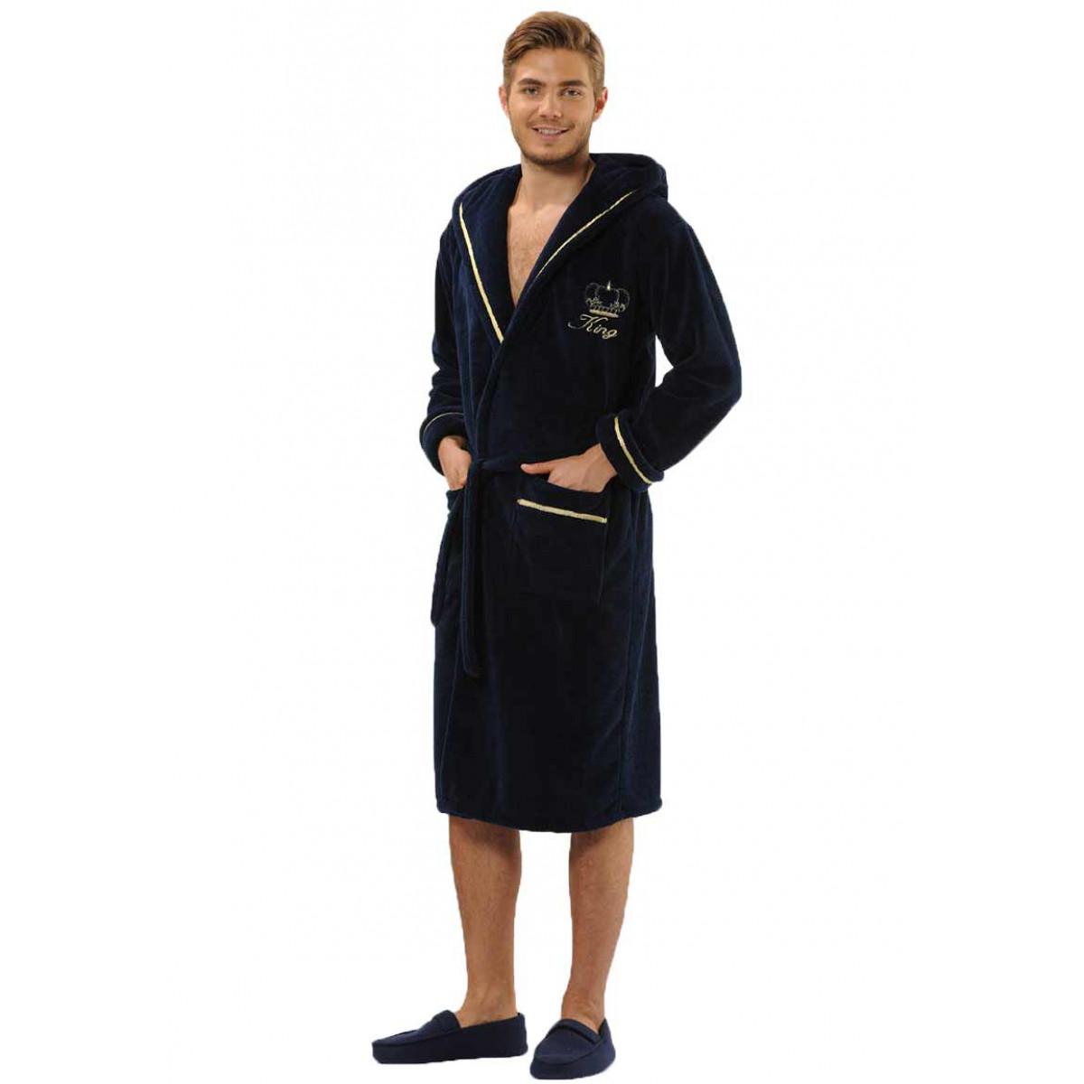 Donkerblauwe heren badjas met kroon