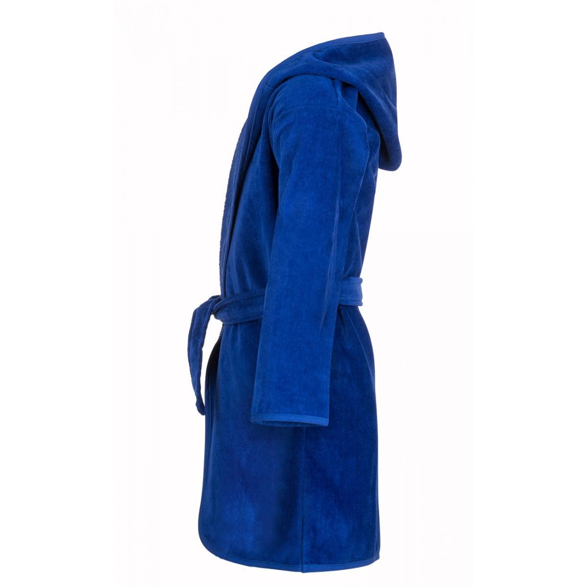 blauwe kinderbadjas met capuchon