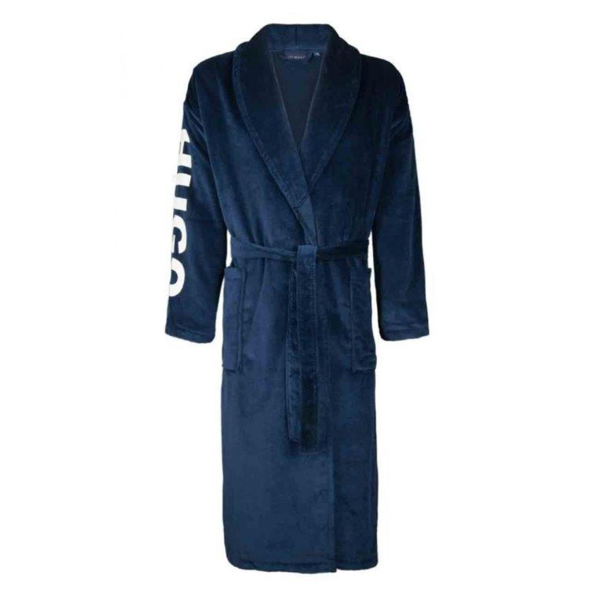 Blauwe badjas met bedrukking
