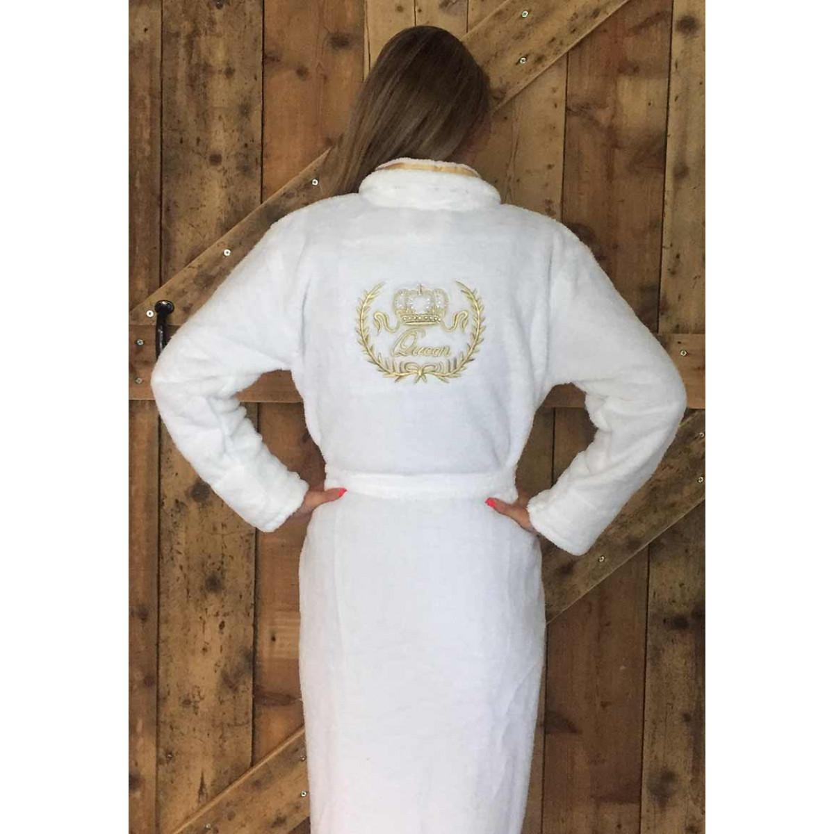 Witte badjas dames met kroon