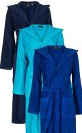 Blauwe capuchon badjassen