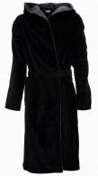 Badjas zwart met grijze capuchon