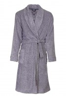 Fleece herenbadjas grijs/blauw