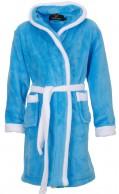 Kinderbadjas met capuchon aqua