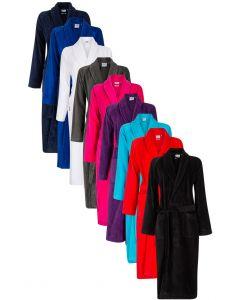 Badjassen velours katoen in diverse kleuren