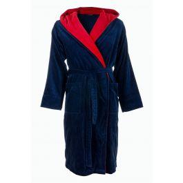 Badjas blauw met rode capuchon