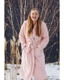 Poeder roze badjas fleece voor haar