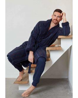 Luxe badjas marinekleur voor hem