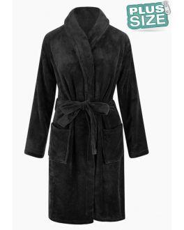 Unisex fleecebadjas extra groot - zwart