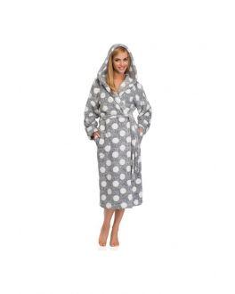 Grijze dames badjas met stippen