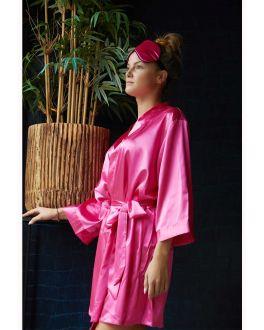Donkerroze kimono satijn voor haar