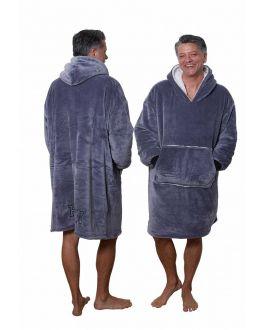 Fleece deken met mouwen - donkergrijs - poncho fleece