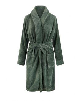 Olijf groene badjas fleece voor hem & haar