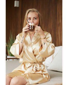 Champagne kimono satijn voor haar