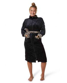 Badjas zwart met rits voor haar