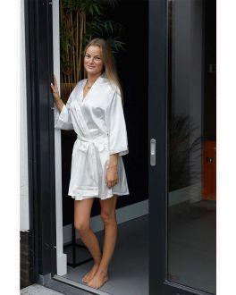 Witte kimono satijn voor haar