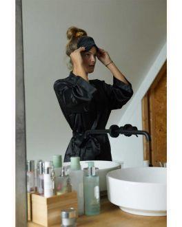 Zwarte kimono satijn voor haar